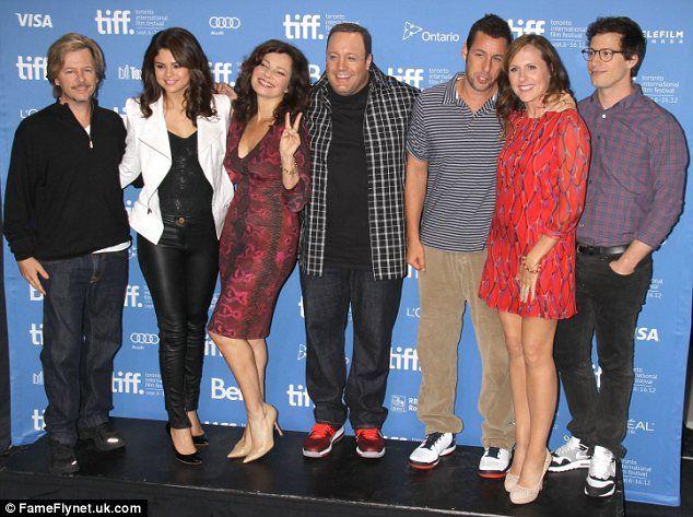 "Selena posed with co-stars (L-R) David Spade, Fran Drescher, Kevin James, Adam Sandler, Molly Shannon and Andy Samberg. ""Hotel Transylvania"" photocall. Venice Film Festival. September 8, 2012."