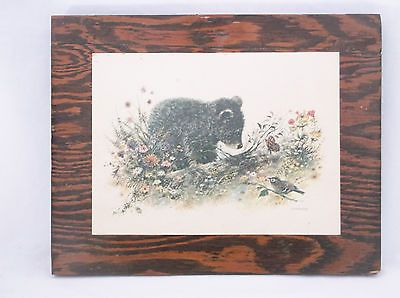 $30 NS Vintage-1960-039-S-Bear-Cub-in-Springtime-Lacquered-Print-on-Wood-Plaque-Giordano Original/Reproduction: Artwork Reproduction Subject: Animals Listed By: Dealer or Reseller Style: Realism Signed: Signed Size Type/Largest Dimension: Small (Up to 14in.) Edition Type: Open Edition Date of Creation: 1950-1969 Print Type: Lithograph