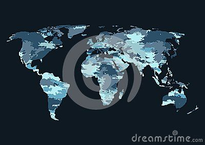 World map camouflage-vector illustration. Banner camouflage blue marina on the world map.