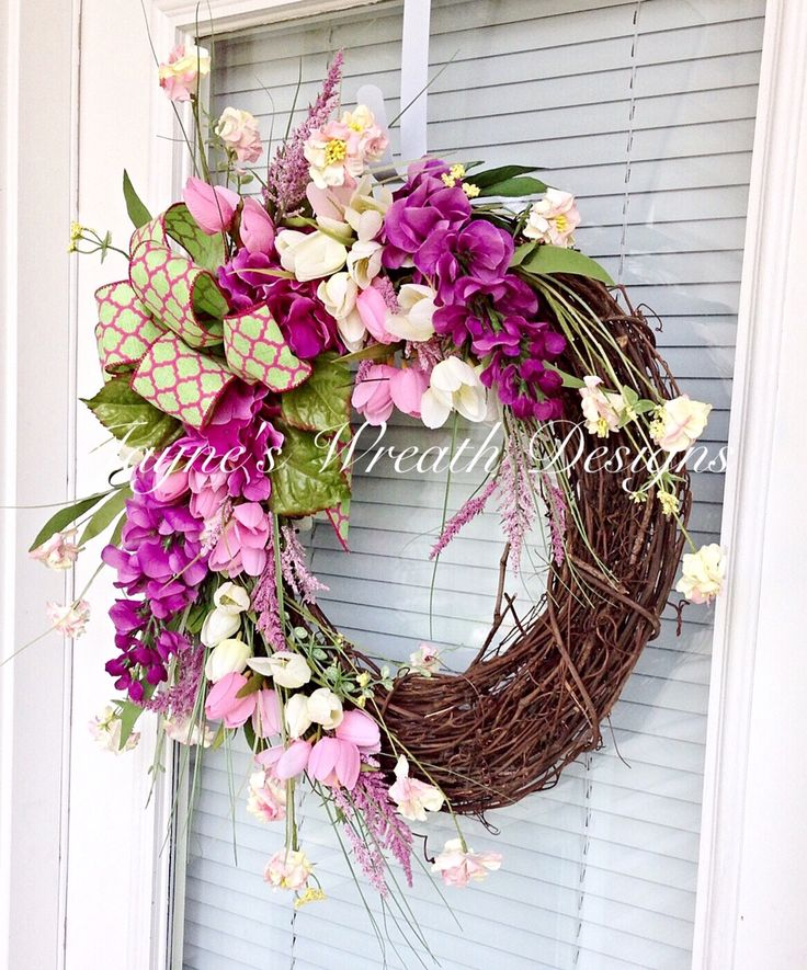 Spring Grapevine Wreath with Hydrangeas and Tulips Home Decor Jayne's Wreath Designs on fb and Instagram