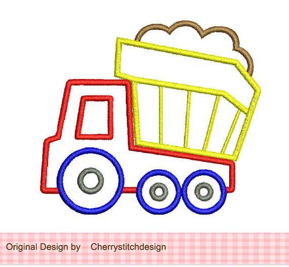 Camión Appliqque 4 x 4 5 x 7 la máquina del por CherryStitchDesign