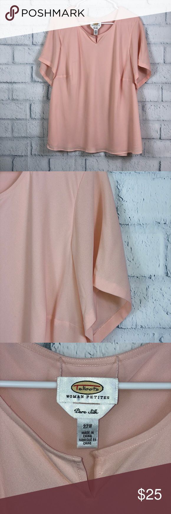 "Talbots Woman Petites Pure Silk Blouse Gorgeous Talbots Woman Petites Blouse Short Sleeve VNeck  Pure Silk Size 22W Pit to Pit:28"" Length: 26.5"" (B5)  Please note that it does have a couple tiny spots. Talbots Tops Blouses"