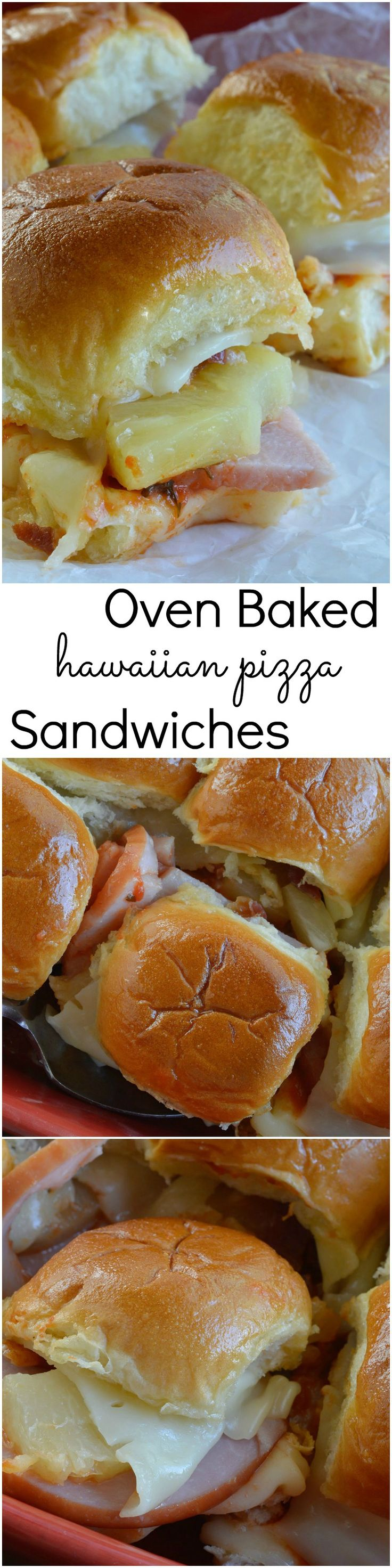Oven Baked Hawaiian Pizza Sandwiches! Melty Cheese, Canadian Bacon, Pineapple, Bacon Crumbles and Pizza Sauce Baked on Soft Bread Rolls!