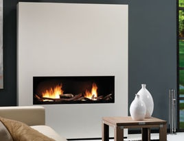 Modern Fireplaces - paint wall to left and have glass front display