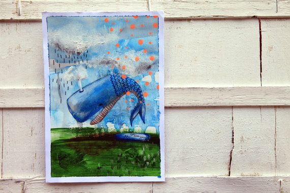 whale illustration funny animal portrait by ariannapiazzafineart, $80.00