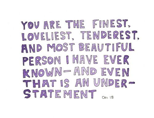 """You Are The Finest, Loveliest, Tenderest And Most"