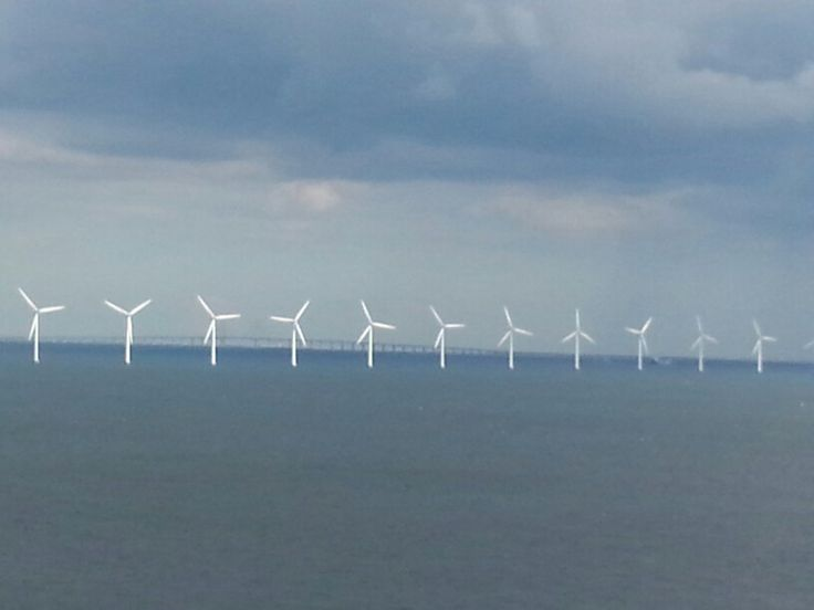 More wind power.  Sculptural presence. The Oresund Bridge is in the distsnce. A fabulous view.