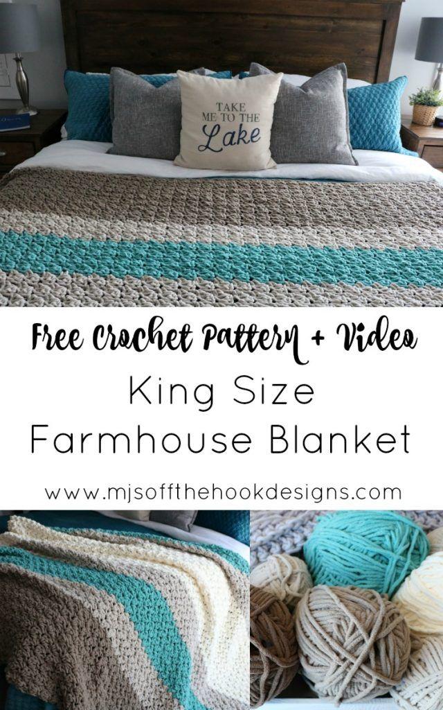 Crochê um cobertor King Size Farmhouse - padrão livre