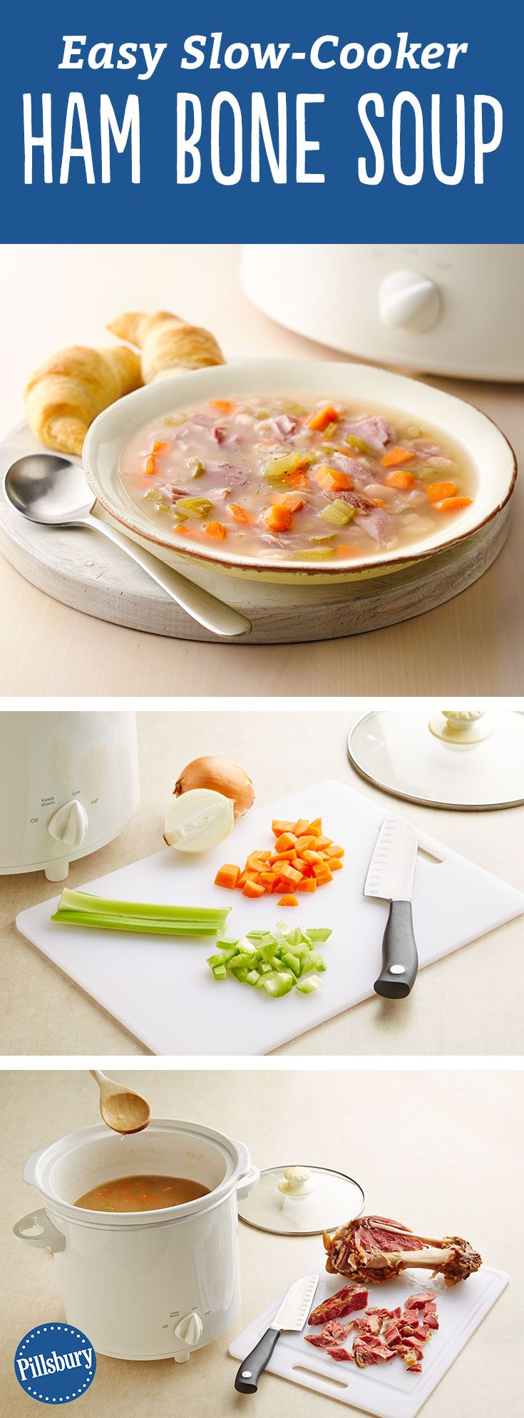 This soup hits the spot, big time! Make classic + hearty ham bone soup (loaded with vegetables and beans) the easy way, right in your slow cooker. For even more flavor, add 1 bay leaf for the last hour of cook time. It's delicious served on its own for an easy meal, or with hot-from-the oven crescents or biscuits for dunking.