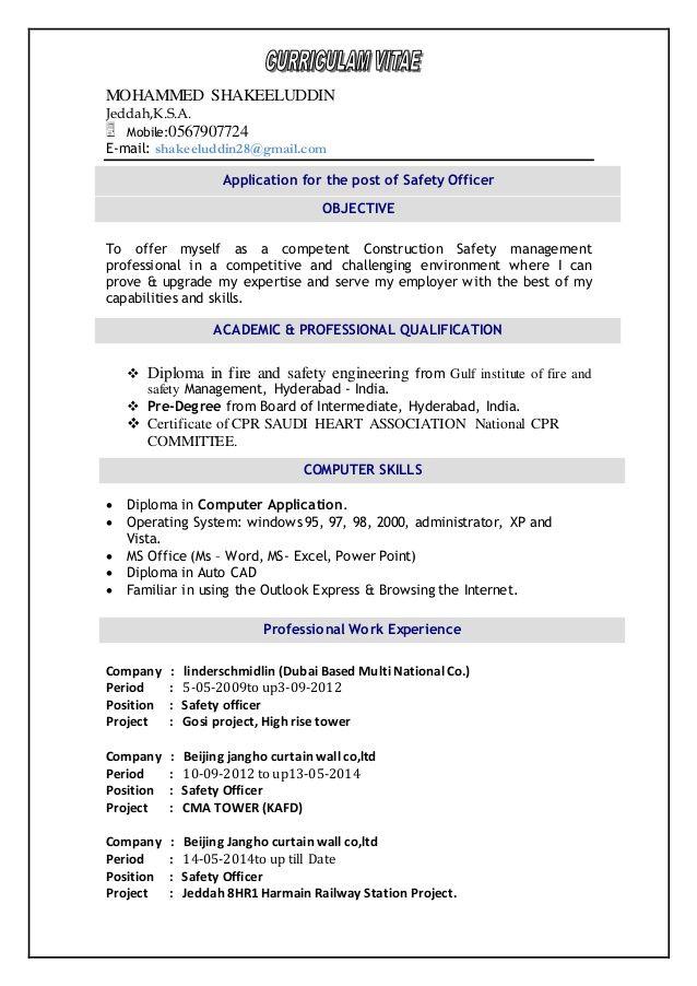 image result for resume for safety officer