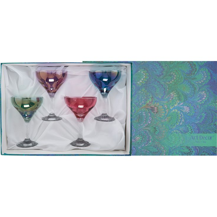 """Art Decor"" Set Of Four Multicoloured Coupe Glasses - TK Maxx"