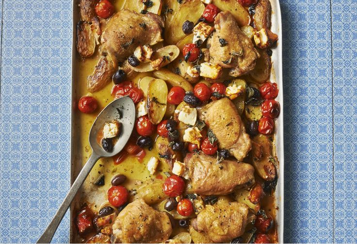 This easy Greek recipe with potatoes, olives and feta can be made in one pot - use skin-on thighs for the most succulent roast chicken.