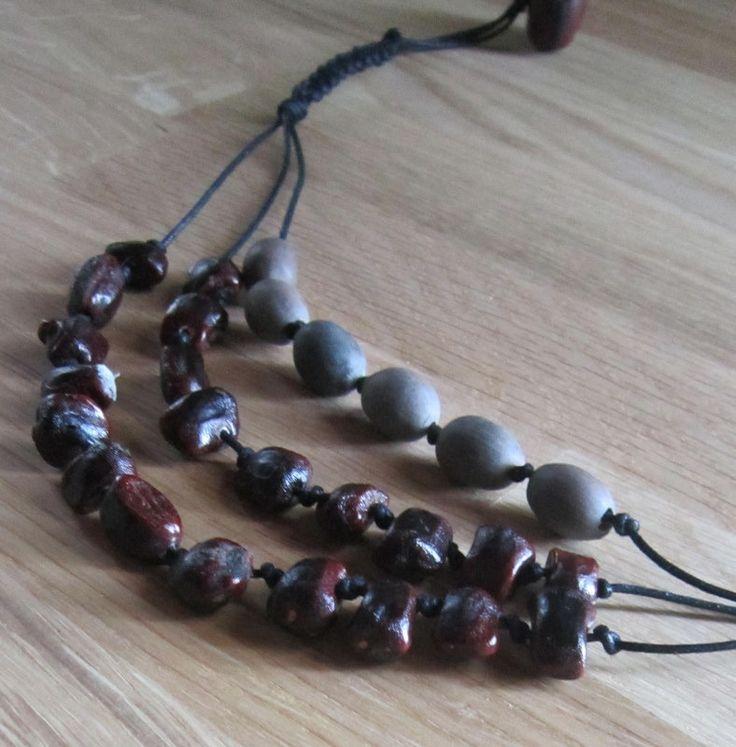 Collier ethnique avec graines et macramé : Collier par natu-recup