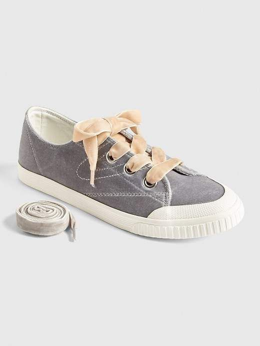 1f387f7bbc2a Tretorn® Marley Velvet Lace-Up Sneakers  ribbon Contrasting laces ...