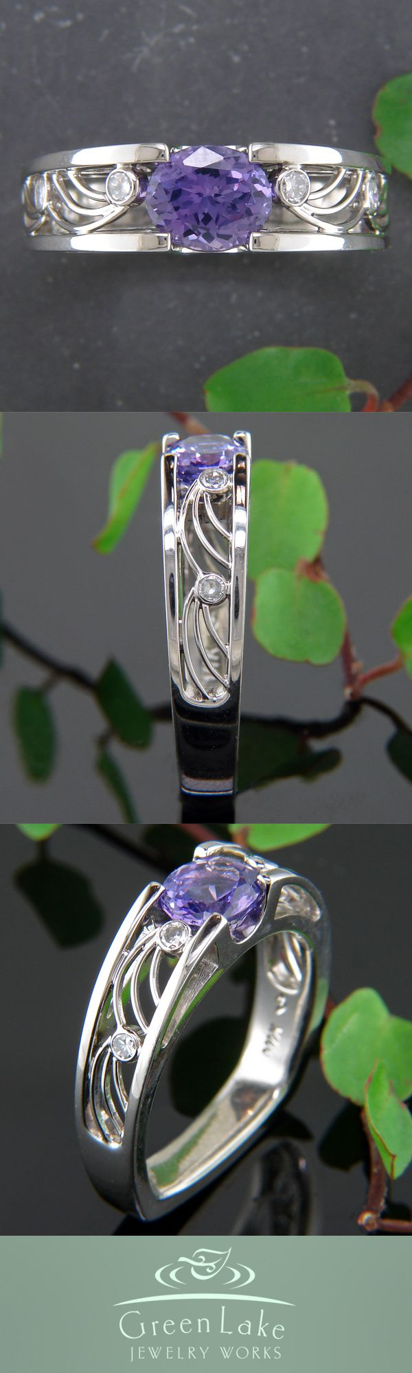 Engagement Ring -   Stunning purple sapphire set in a custom-made white gold split shank, with ocean wave inspired filigree.