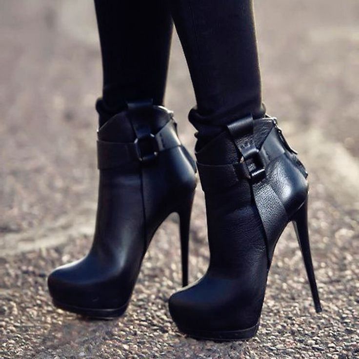 Black Patchwork Buckle Extreme High Heel Ankle Boots