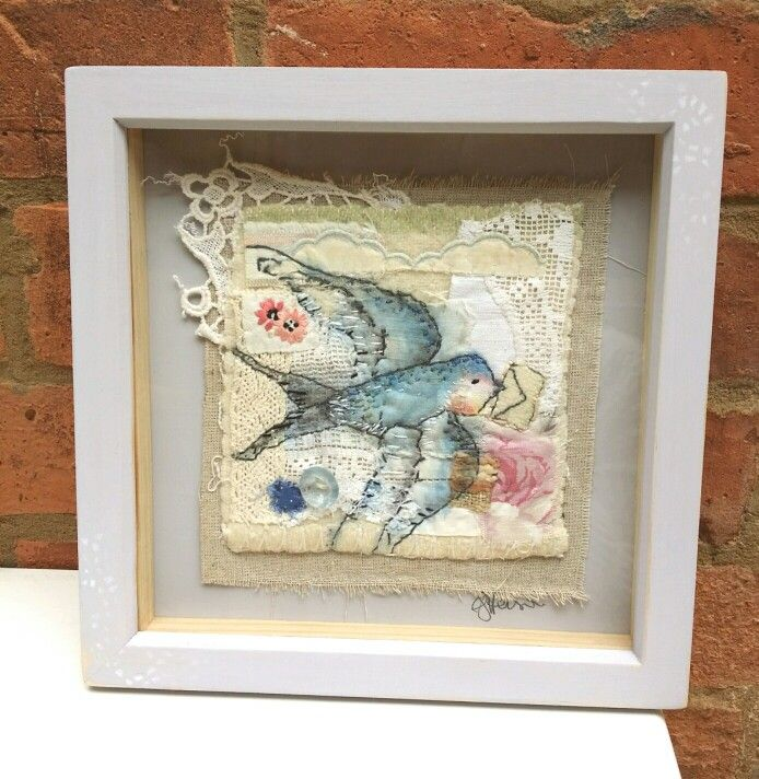 Emily henson textile art swallow with envelope. Vintage fabrics. Hand stitched.  www.facebook.com/bibliboo