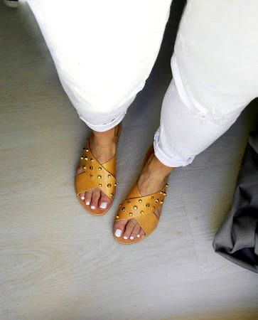 criss cross leather handmade greek sandals with gold studs /in natural tan color /slippers/aelia/sandals /woman shoes by aeliasandals on Etsy