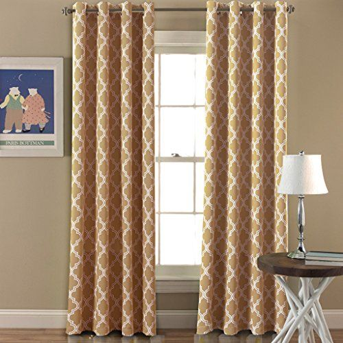 Flamingo P Room Darkening Moroccan Tile Quatrefoil Blackout Top Grommet Unlined Thermal Insulated Window Curtains Set of Two Panels each 96 by 52 Taupe