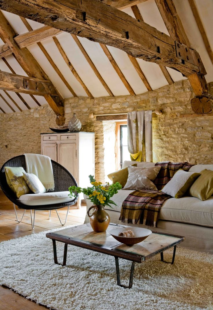 Country Living Rooms With Beams And Stone Walls Need To Be