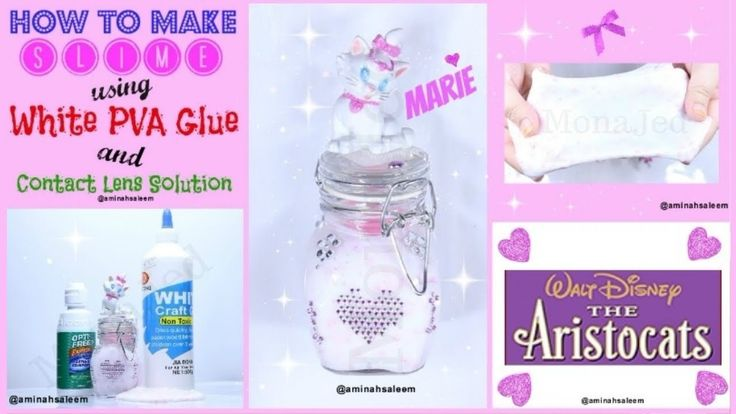 How to make slime with contact lens solution! (Marie Cat Slime) /طريقة ع...