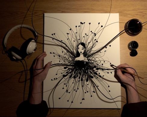 Dubujo creativo con tinta china