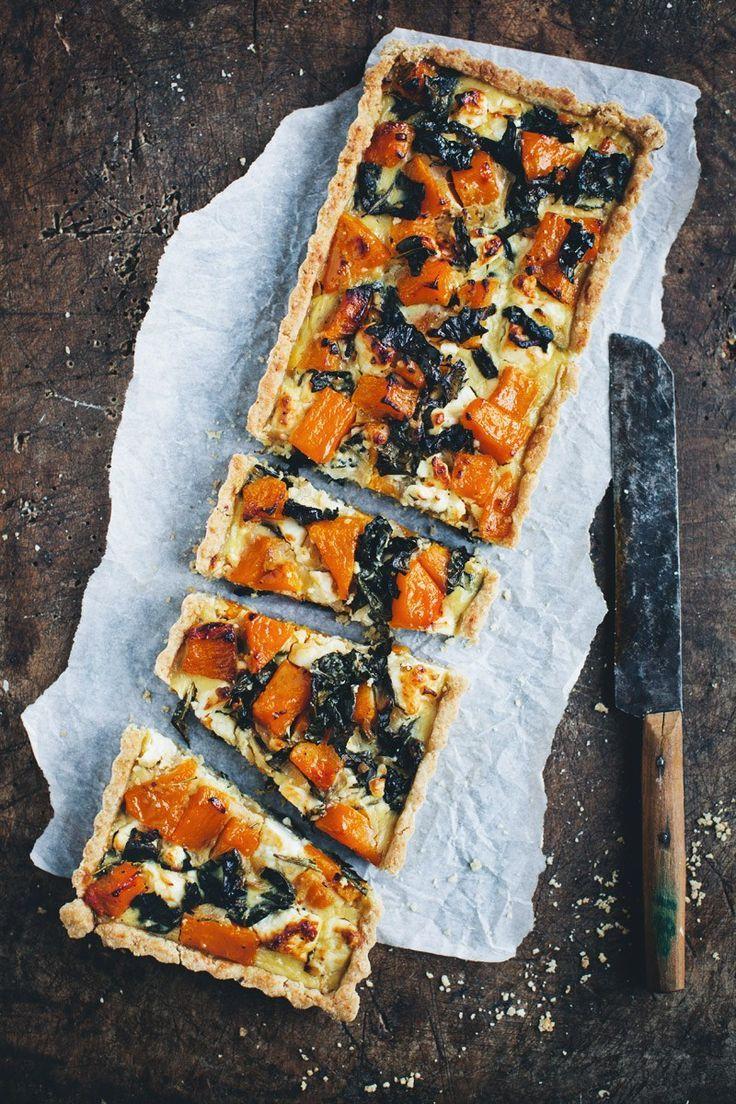 butternut, kale and feta quiche