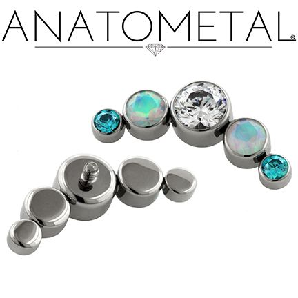 Custom Threaded Cluster in ASTM F-136 titanium with CZ, Mint Green CZ, and synthetic Faceted Opal gems