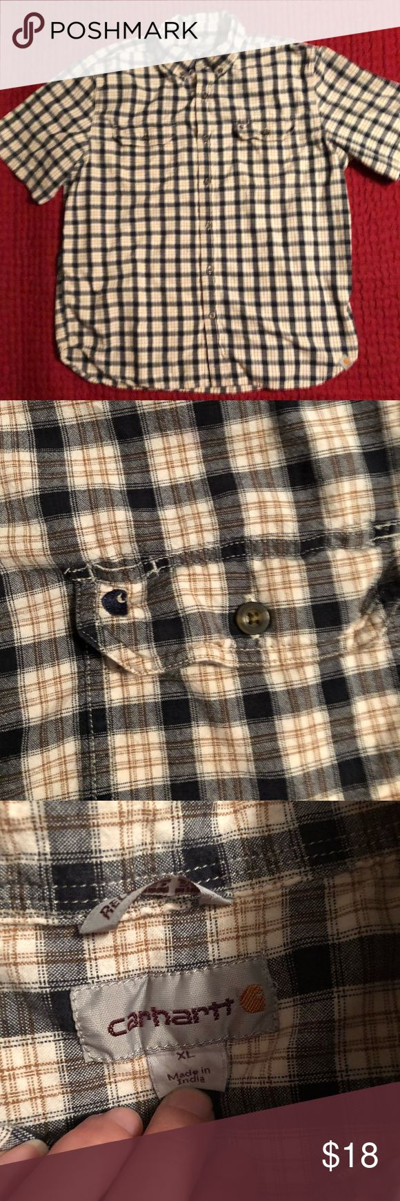 Men's Carhartt Short Sleeve Button Down XL Gently worn with no holes, rips, or stains. 100% Cotton. Color are black, brown, and cream. Carhartt Shirts Casual Button Down Shirts