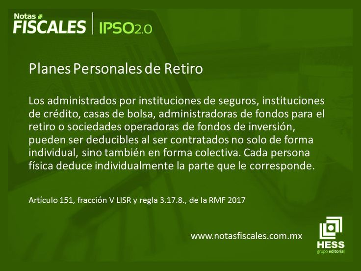 """#FelizJueves hoy en #IPSO2O """"Planes Personales de Retiro""""  Más artículos relacionados en la revista   Notas Fiscales http://notasfiscales.com.mx/"""