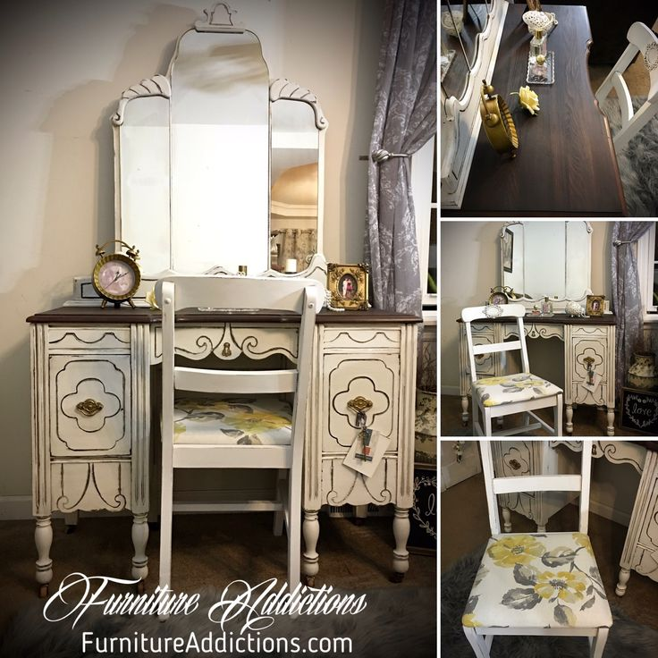 Vanity was painted with Country Chic Paint Simplicity and stained with General Finishes Java Gel  #FurnitureAddictions #ChalkPaintedFurniture #DistressedFurniture #UpcycledFurniture #paintedfurniture #chalkpaint #countrychicpaint #generalfinishes