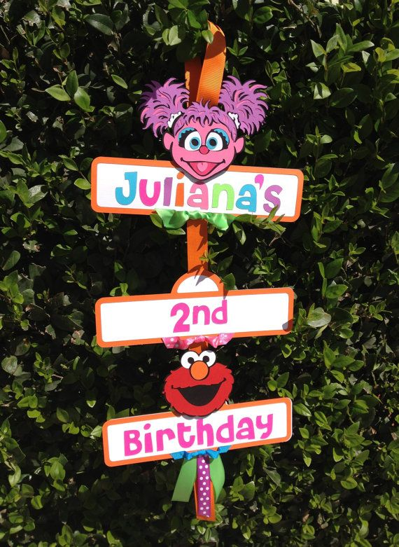 Elmo/Abby Cadabby Sesame Street Birthday Party Sign on Etsy, $22.50