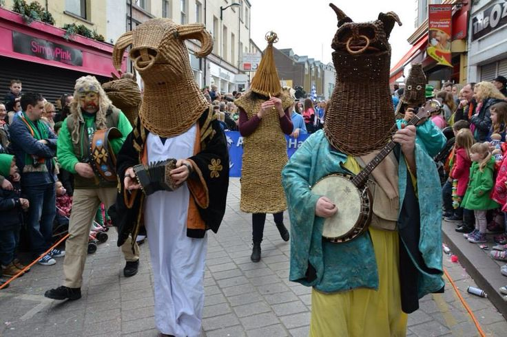 The Two Bulls parading with The Armagh Rhymers, St Patrick's Day, Armagh 2015 - photo by Peter McCorry