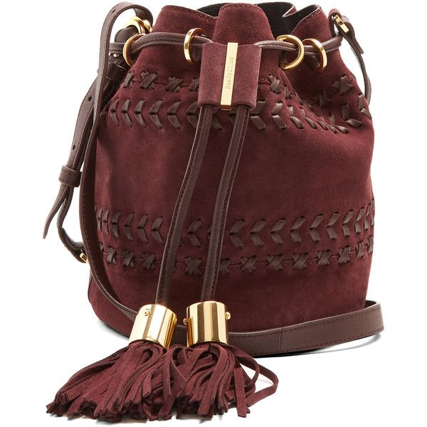 See By Chloé Vicki small suede cross-body bucket bag (£320) ❤ liked on Polyvore featuring bags, handbags, shoulder bags, dark purple, red handbags, suede crossbody, drawstring bucket bags, bucket bags handbags and suede bucket bag