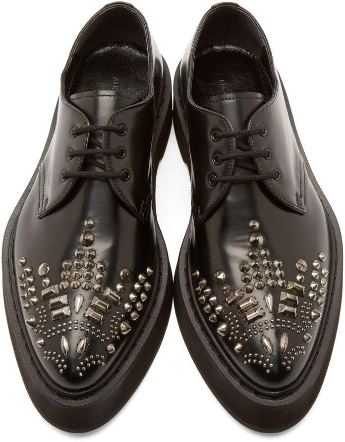 Alexander McQueen Black Studded Leather Platform Derbys
