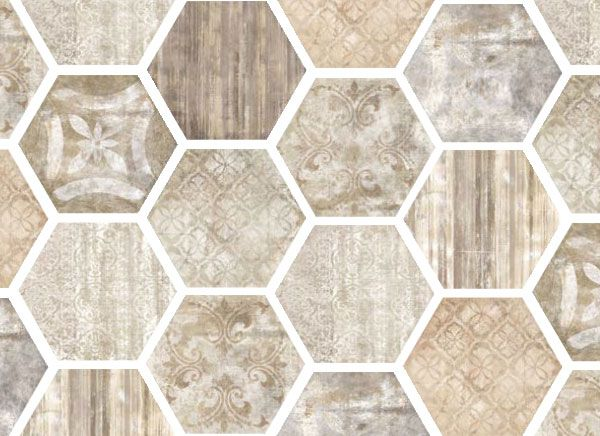 Lexington by FINE in Taupe is available in: 13x13, 20x20, 3x6, 6x20, and 6x6 field tile; 18x14 hexagon; and 3x13 battiscopa. Hexagonal decos and mixed basketweave mosaics also come in this line! #terracotta #hexagontile www.galleriastone.com