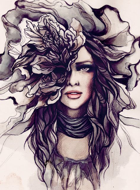 Soleil Ignacio - Beauty illustration: Ignacio Sun, Artists, Drawings, Inspiration, Flowers Girls, Beautiful, Flowers Hair, Fashion Illustrations, Fashionillustr
