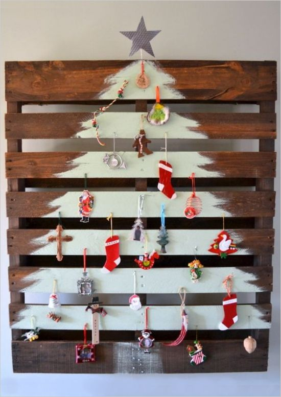shipping pallet tree? 17 Alternative Christmas Trees. Which one would you choose or will you stick with the traditional? #christmastreeideas http://www.weddingchicks.com/17-alternative-christmas-trees/