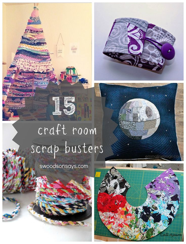 15 craft room scrap busters! Projects to use up your bits of fabric, ribbon, and paper. SwoodsonSways.com