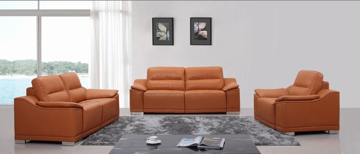 Amazing Divani Casa K8463 Modern Orange Leather Sofa Set By Vig Machost Co Dining Chair Design Ideas Machostcouk