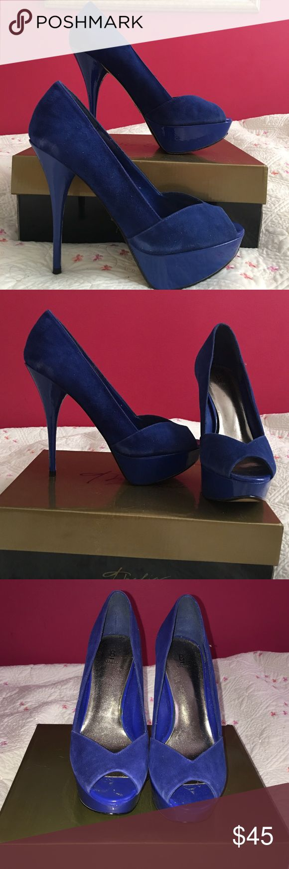 Bakers Blue Suede Pumps Peep toe royal blue suede pumps. Gently used. Bakers Shoes Platforms