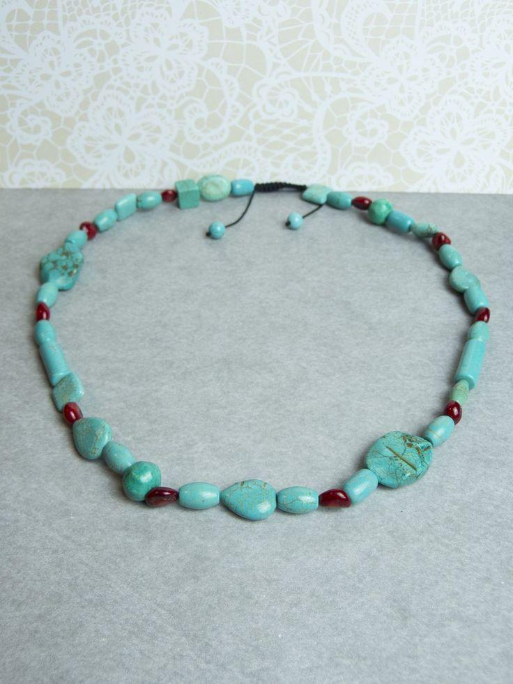 Nu SALE €35,- Gorgeous...Echt Turquoise (Turkoois) en Koraal Edelsteen Ketting via Birdie Accessoires