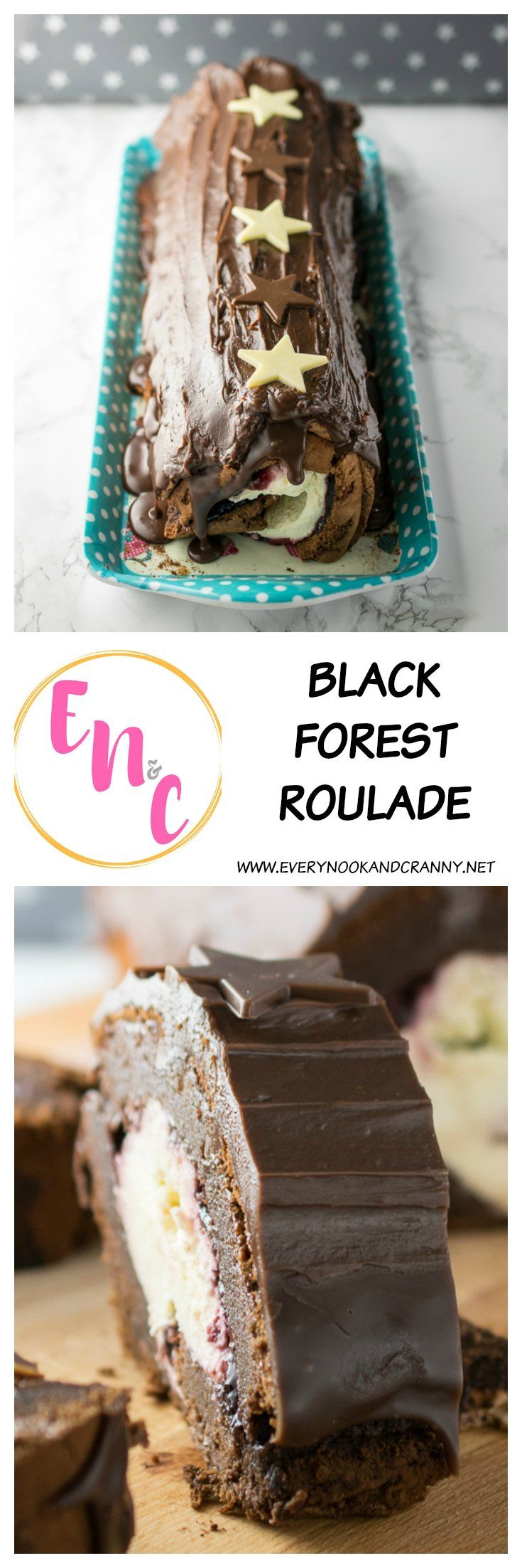 Black Forest Roulade is a chocolate sponge filled with Chambord sweetened whipped cream, black cherry conserve and finished with a balck cherry chocolate ganache