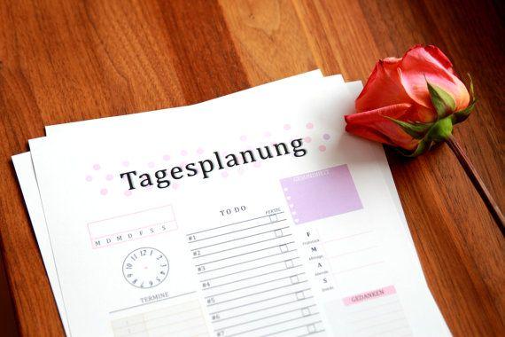 Druckbarer Tagesplaner | Printable Daily Planner | Made by PrintableNow2016  TIP: Nimm dir ein Abend vorher Zeit und gehe gedanklich deinen
