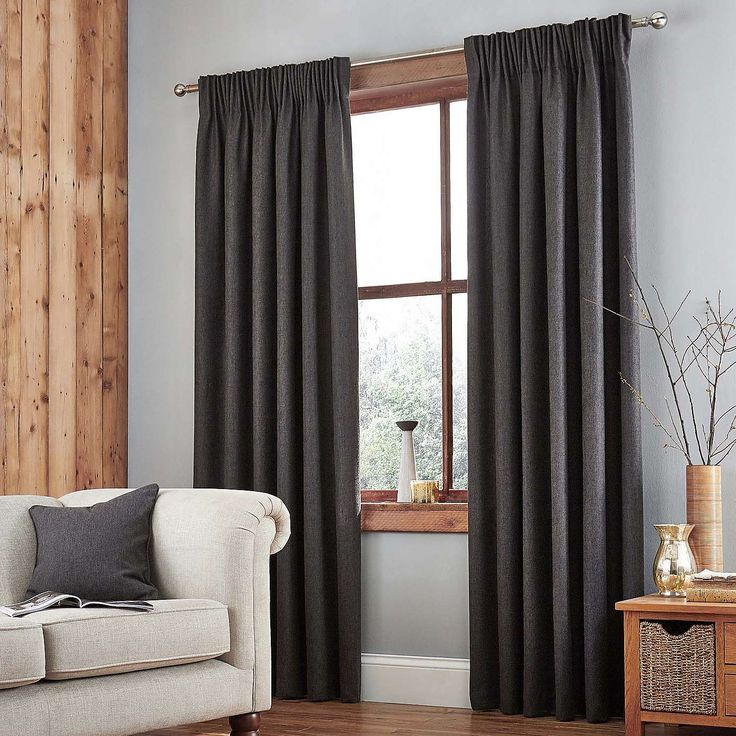 Harris Charcoal Thermal Pencil Pleat Curtains | Dunelm