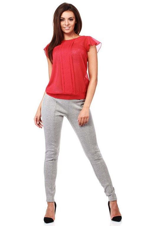 The red blouse for women with navicular neckline