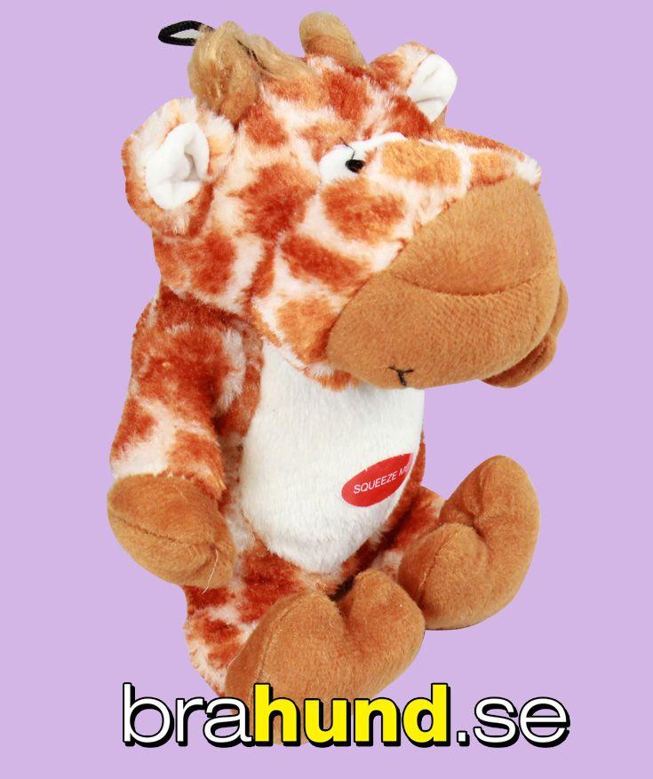Spräcklig plysch giraff som piper när hunden biter i den, med upphängning, 23 cm.