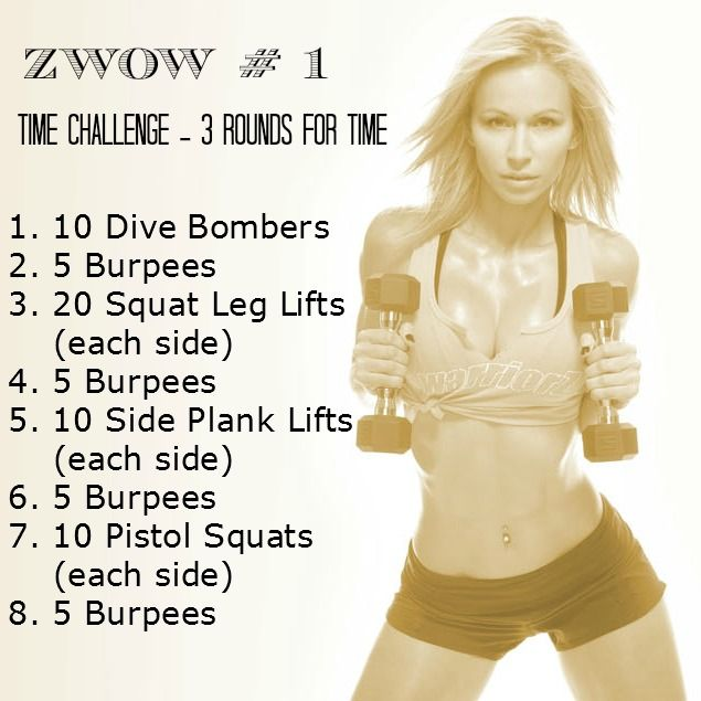 ZWOW # 1 - Time Challenge. I do her workouts all the time. She has her own website and you can also look her videos up on you tube. I always feel like I accomplished something when I workout with her