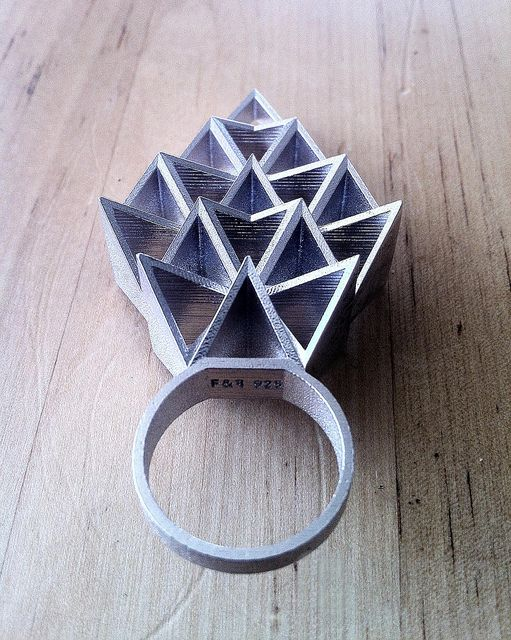 Geometric Jewellery - architectural ring; contemporary 3D printed jewelry design // Fathom & Form