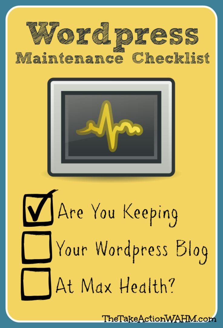 WordPress Blog Maintenance Checklist: 5 Essential Tasks You MUST Stay On Top Of #blogtips from http://thetakeactionwahm.comMaintenance Checklist, Blog Helpful, Social Media, Blog Info, Wordpress Blog, Wordpress Stuff, Blogtip Wordpress, Essential Task, Blog Maintenance